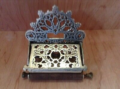Toilet Roll Holder with Lid Victorian Vintage Cast Iron Nickel Brass Antique
