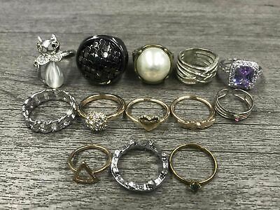 Costume Jewelry Rings Lot Gold Tones Statement