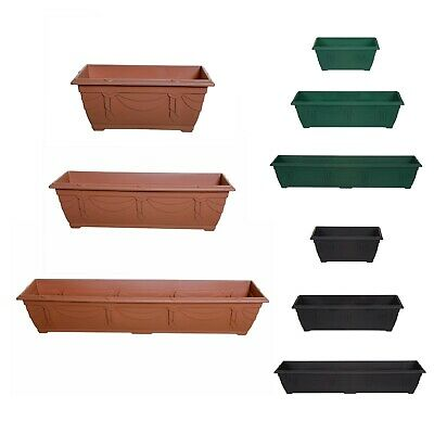 Plastic Flower Planter Pot Sturdy Window Box Garden Plant 3 Colours UK Made