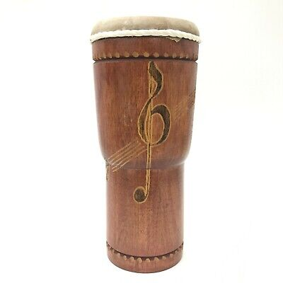 HAND DRUM Hand Carved Treble Clef Design Wood Percussion Instrument 511297