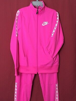 Nike Tracksuit Girls Age 12-13 Joggers And Track Top Pink With White Detail