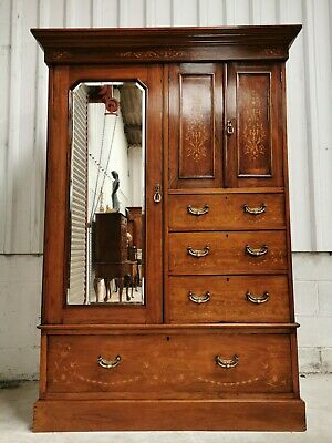 ANTIQUE VINTAGE EDWARDIAN VICTORIAN INLAID COMPACTUM WARDROBE free delivery!