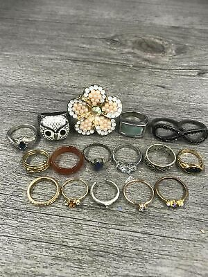 Costume Jewelry Rings Lot Flower Owl Band Stones