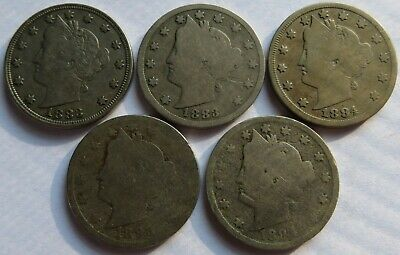1883/84/93/94 Liberty Nickels, 5 Vintage 5C Cents coins (210948G)