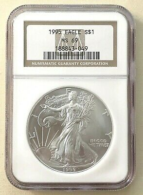 1995 American 1 oz Silver Eagle $1 NGC MS69 Brown Label