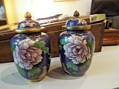 """Pair Cloisonne 5 """" Spice Jars Enamel On Brass With Lid Excellent Condition"""
