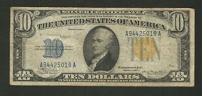 FR. 2309 $10 Series of 1934A Silver Certificate North Africa - Yellow Seal