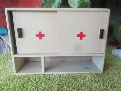 Old Vintage Primitive Wooden Medicine Apothecary Wall Cabinet Chest Cupboard