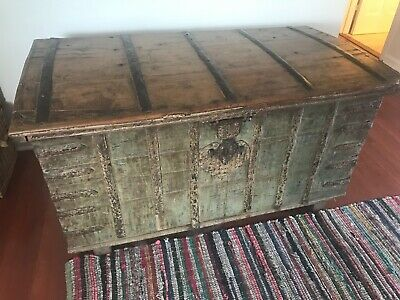 Antique Chest Continental 19th Century Trunk, Coffer, Blanket Box