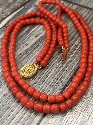 Antique old nature red coral necklace silver clasp gold plated china export 1970