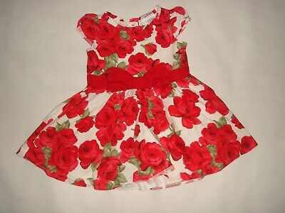 01 E-vie Angel Toddler Girls Red & White Cotton Rose Print Dress Age 2 Yrs