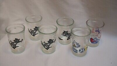 6 Tom & Jerry Welch's Jam Jar Glasses 1990 1991 Sports Themed Cartoon Jelly Cups