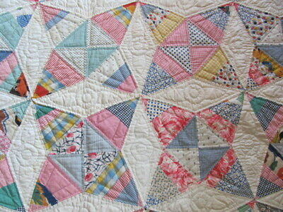 1930's Sugar Cone Star quilt very finely hand quilted pieced no wear 76 x 76 in