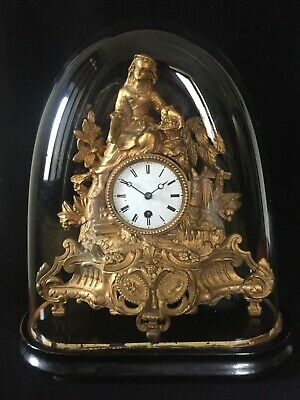 19th Century French Gilt Figural Clock with Glass Dome