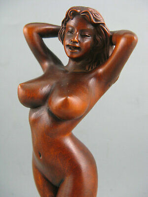 Antique Old Boxwood Hand Carved Sexy Beauty Collectible Statue