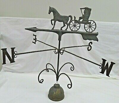 Vintage Wrought Iron Weather Vane With Cast Aluminum Horse and Carriage Spinner