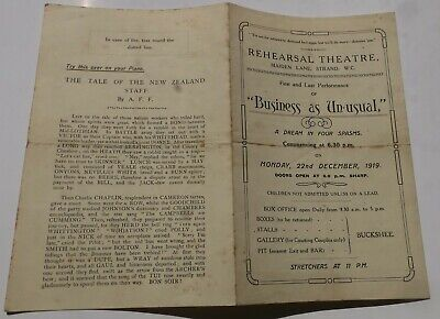 Business As Usual Rehearsal Theatre London Wc1 22 Dec 1919 Programme