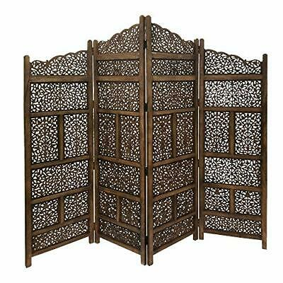 Benzara BM01875 Hand Carved Foldable 4-Panel Wooden Partition Screen/Room