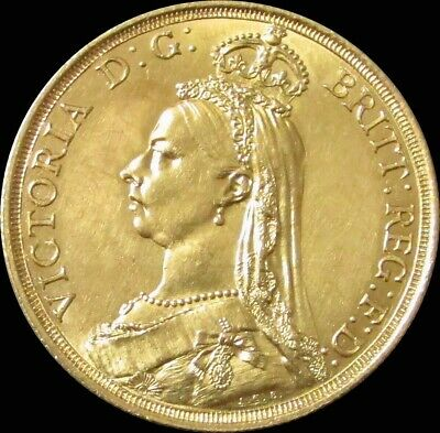 1887 Gold Great Britain 2 Pounds (Double Sovereign) Queen Victoria Choice Au