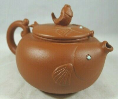 Chinese Yixing Teapot With Fish Design Signed
