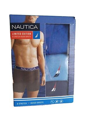 Nautica 3 Pack Tagless Mens X- Large Boxer Briefs Stretch Blue Limited Edition