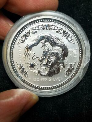 2000 Year of the Dragon 1 oz 999 Silver Australia Coin
