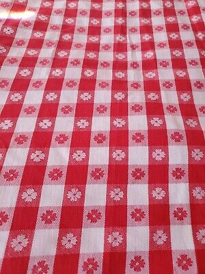 """1940'S Vintage 100% Cotton Red & White Checked Picnic Tablecloth  110""""×51.5"""""""