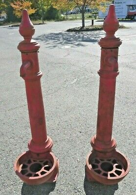 Vintage Pair of Large Red Cast Iron Farm Spigots With Finials