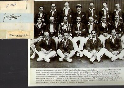 1924-25 Photo Of The MCC Tour Team Plus Autograph Page By 3 Players