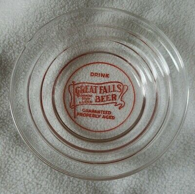 Vintage GREAT FALLS Beer advertising Ashtray Glass bohemian style lager