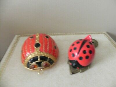 """2 Lady bugs - one 3"""" enamel figure and 1 4"""" paper clip"""