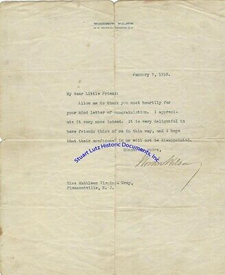 Woodrow Wilson signed letter to NJ woman just before inaugurated President