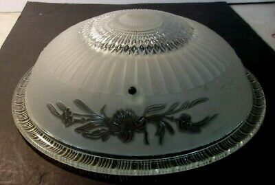 """Antique  Clear & Frosted Glass 14"""" Art Deco Ceiling Light Fixture Shade 3 Hole"""