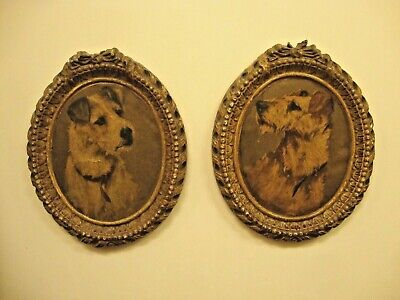Antique Matched Set Fox Terrier Halftone Prints In Oval Syroco Wood Frames