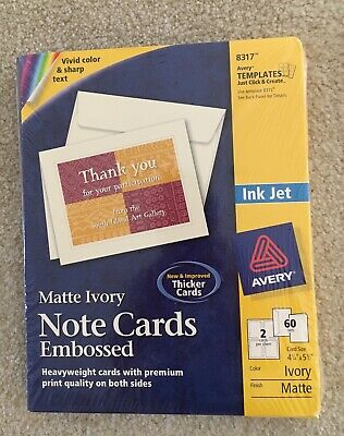 2 Boxes Avery Ink Jet Embossed Note Cards Matte Ivory 60 Sets Per Box #8317
