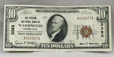 $10 1929 The Citizens National Bank Of Washington PA Note! Charter 3383