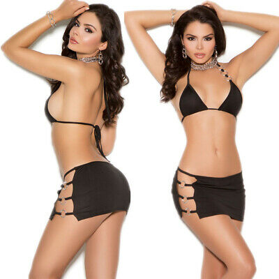 Brief Bikini Sexy Lingerie Underwear Nightclub Babydoll  Nightdress  XXL Black