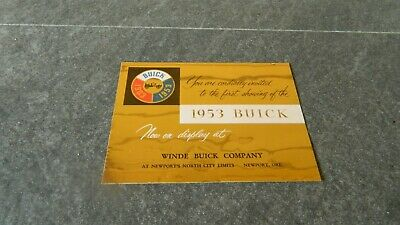 Vtg 1953 Winde Buick Company Invitation For First Showing Newport, Oregon