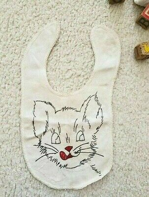 VINTAGE 1930s HAND EMBROIDERED BABY BIB, CHILD BIB. CAT, KITTEN