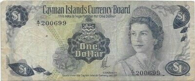 Cayman Islands Papermoney, P-1a 1 Dollar 1971 Serial A/1 Circulated Banknote