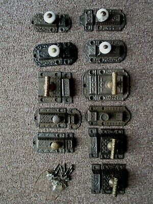 11 Antique Ornate Cast Iron Cabinet Cupboard Latches Porcelain, Brass Knobs