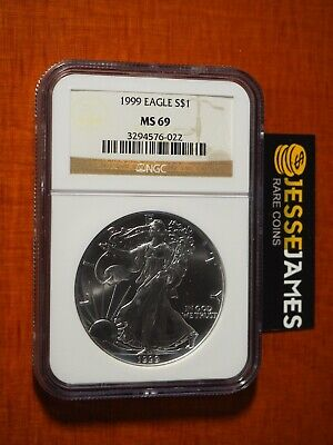 1999 $1 American Silver Eagle Ngc Ms69 Classic Brown Label
