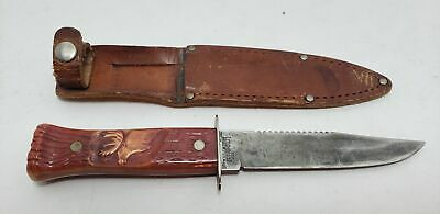 Old Knife-Blade-9 Inch-Imperial-Sheeth-For Hunting-Carved Handle-Deer-Figural