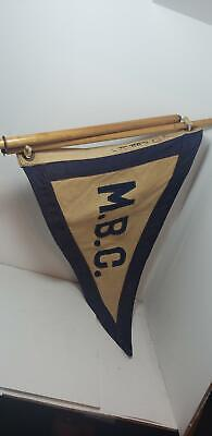 Old Monmouth Beach Club Flag-Pennant-M.b.c.-Wood Pole-New Jersey-17In-Canvas