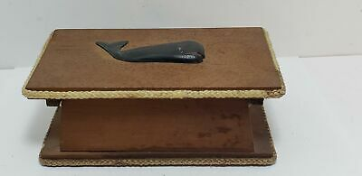 Old Nautical Box-Carved Whale-Hinged-Maritime-Wooden-7 In-Nr!