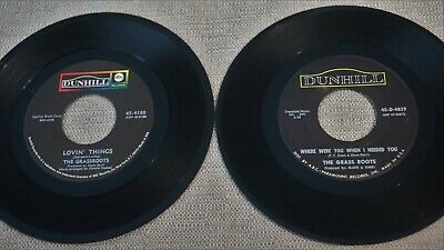 Lot of 2 Rare GRASS ROOTS 45 VG to VG+ Discs DUNHILL 4029 4180 1966-1969