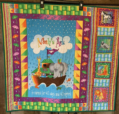 "New Handmade Noah's Ark quilt 32"" X 34"" Machine Quilted Very Colorful & Bright"