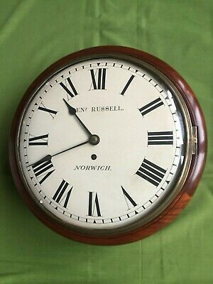 """A   Mahogany 12"""" Convex Fusee Dial Clock By Benjamin Russell Of Norwich"""
