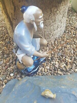"Vintage Chinese Fisherman Mud Man Figurine With Fish ~ 7 "" Figure"