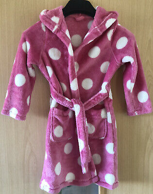 Girls M&S Pink Spotty Dressing Gown Aged 5-6 Years